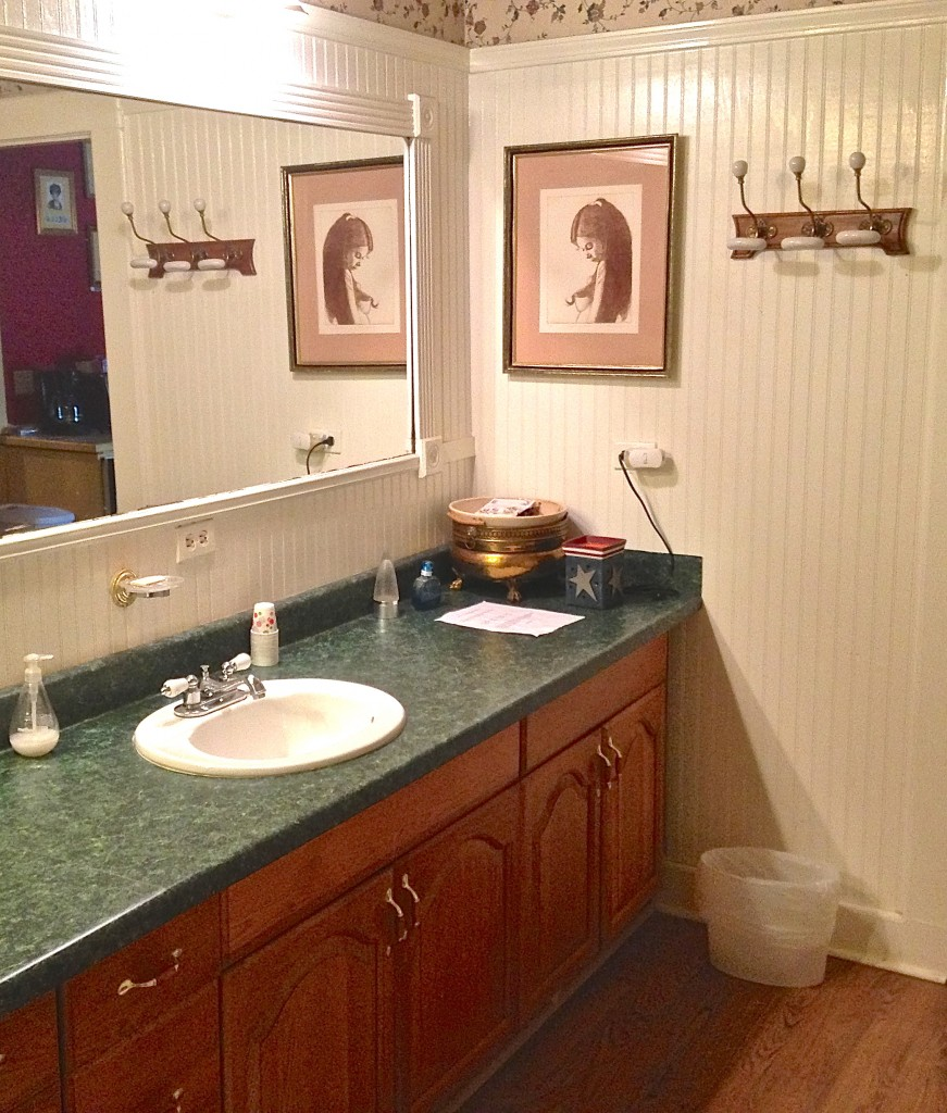 This is just one corner of a very large bathroom. You have to wait your turn but with two showers and two sinks, couples and families can save a bit of time.