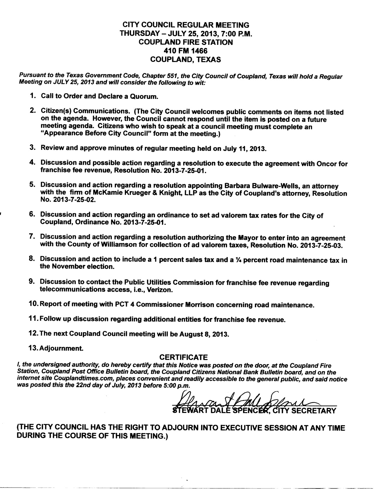 City Council Agenda - July 25, 2013