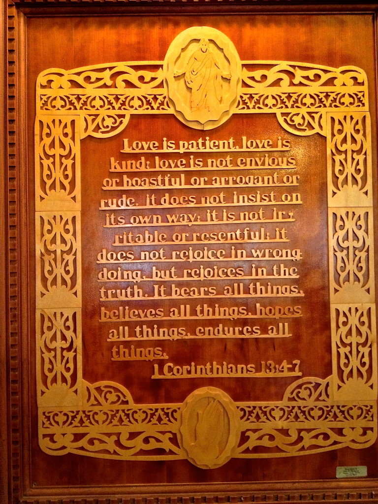 This is in the sanctuary. It was hand carved by John W. Thompson of Taylor, Texas.