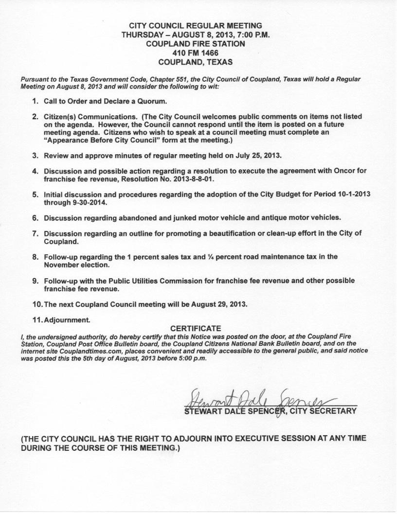 City Council Agenda - August 8, 2013
