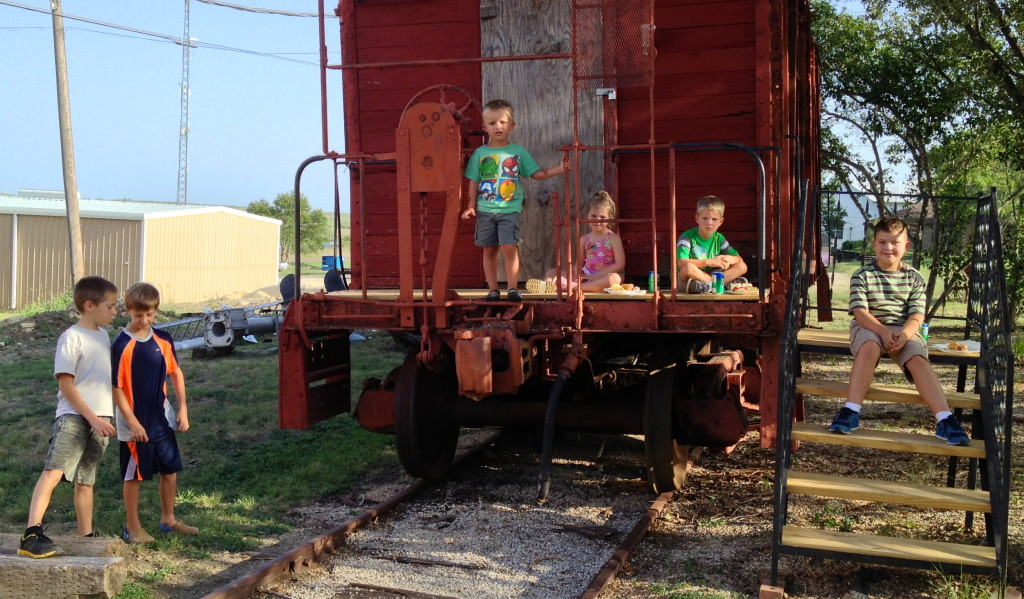 With its recently repaired steps and platform, the caboose was a kid magnet!