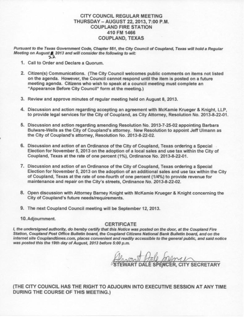 Regular Meeting Agenda - August 22, 2013