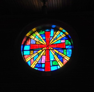 Some of the beautiful stained glass artwork in the sanctuary.