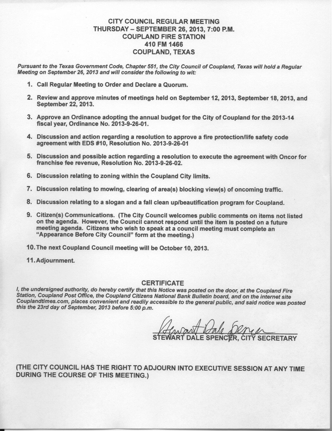 Regular Meeting Agenda, September 26, 2013