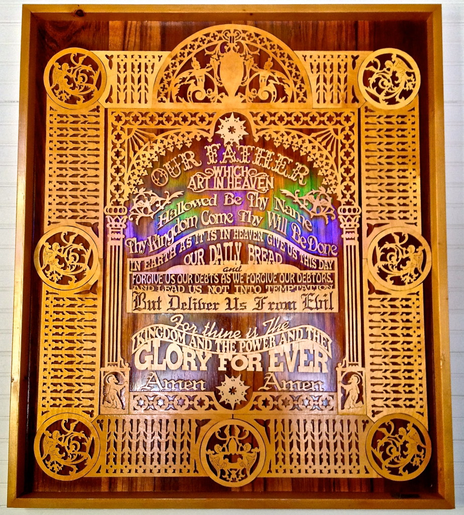 A hand-carved plaque of the Lord's Prayer provides inspiration to visitors to St. Peter's sanctuary.