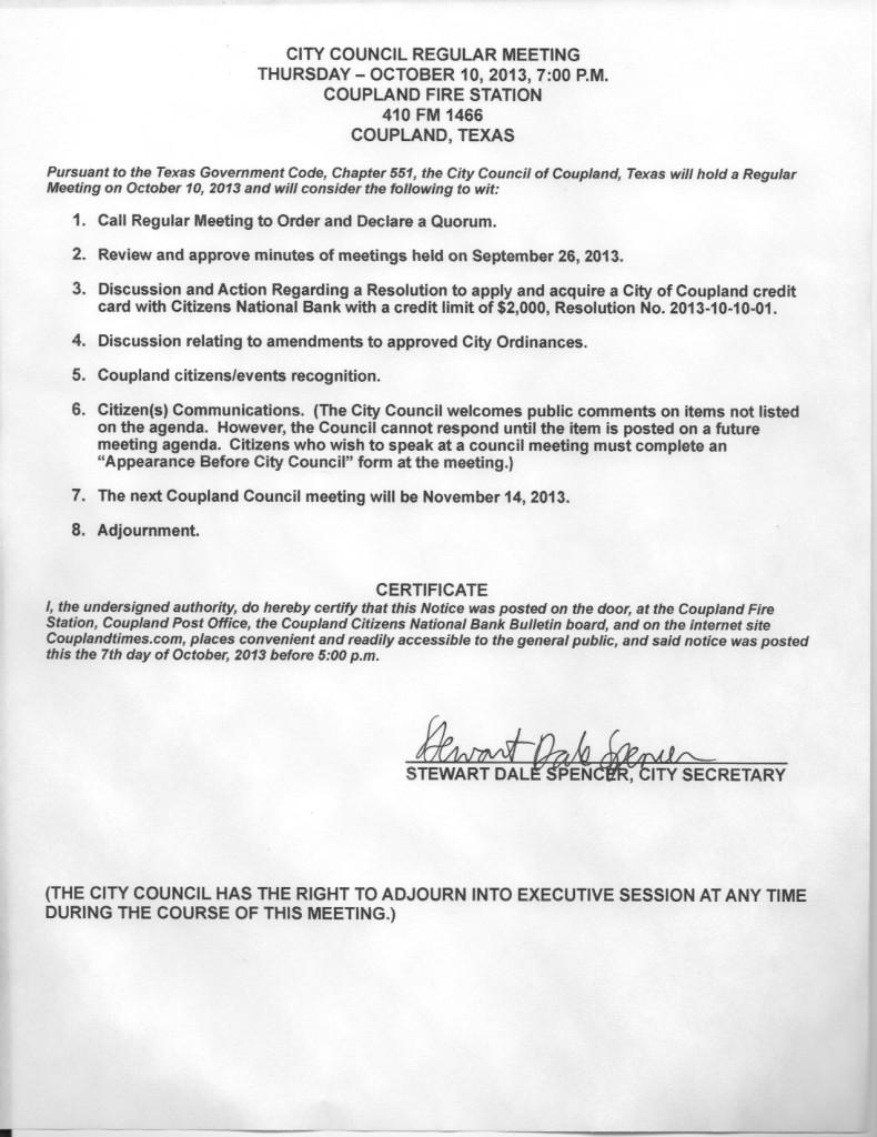 Regular Meeting Agenda, Oct 10, 2013