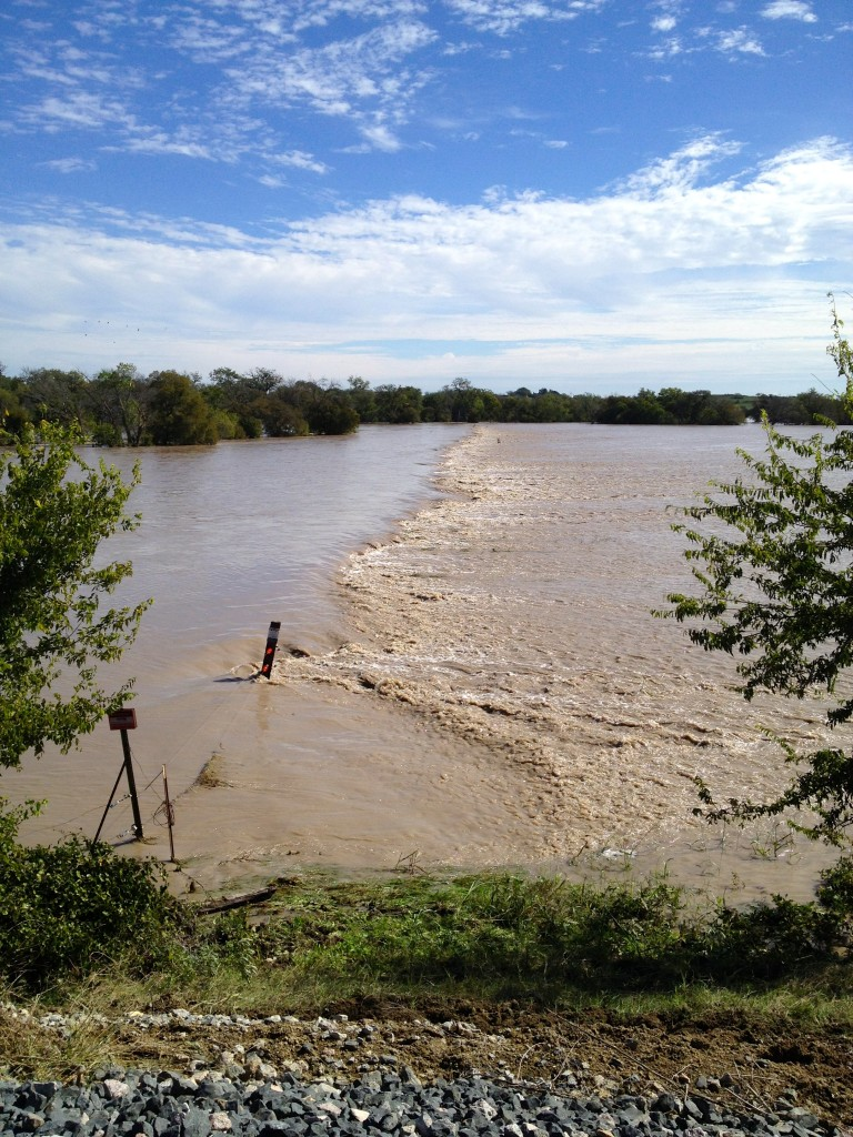 Brushy Creek goes way over it banks, just north of Coupland, on October 31, 2013.