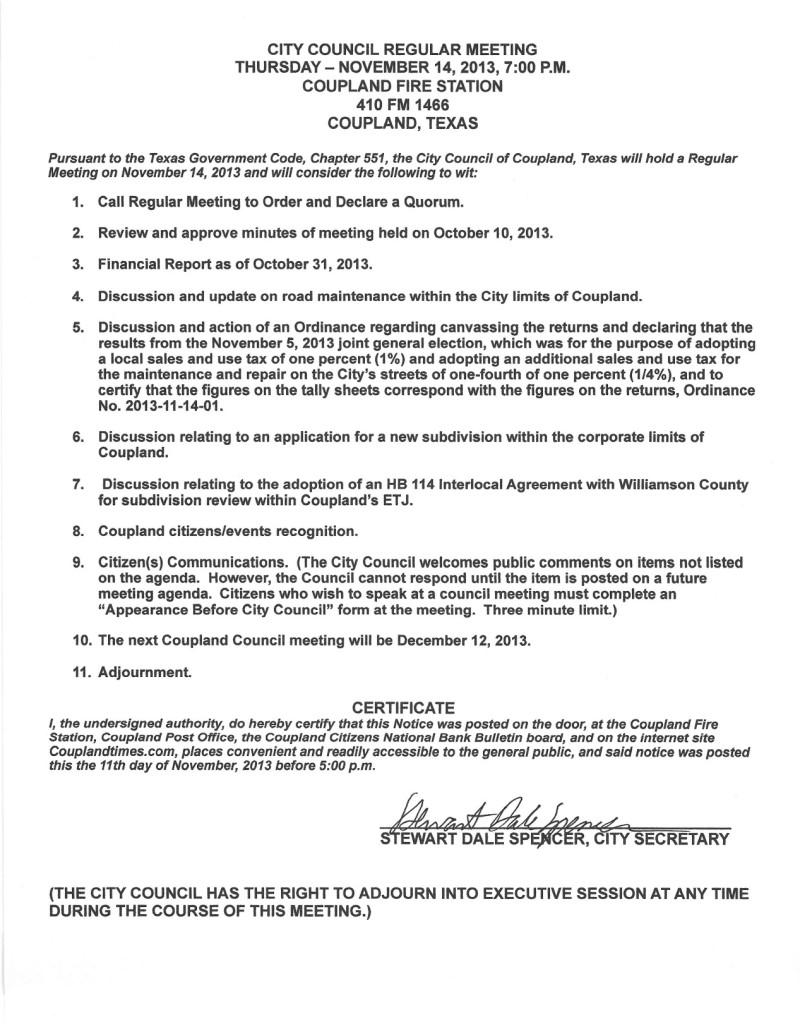 Regular Meeting Agenda, Nov 14, 2013