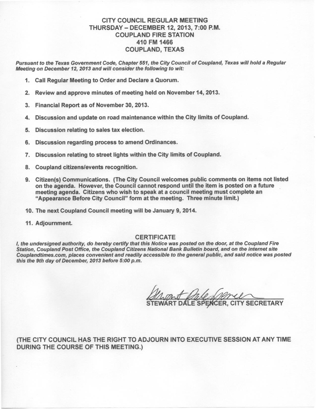 Regular Meeting Agenda, Dec. 12, 2013
