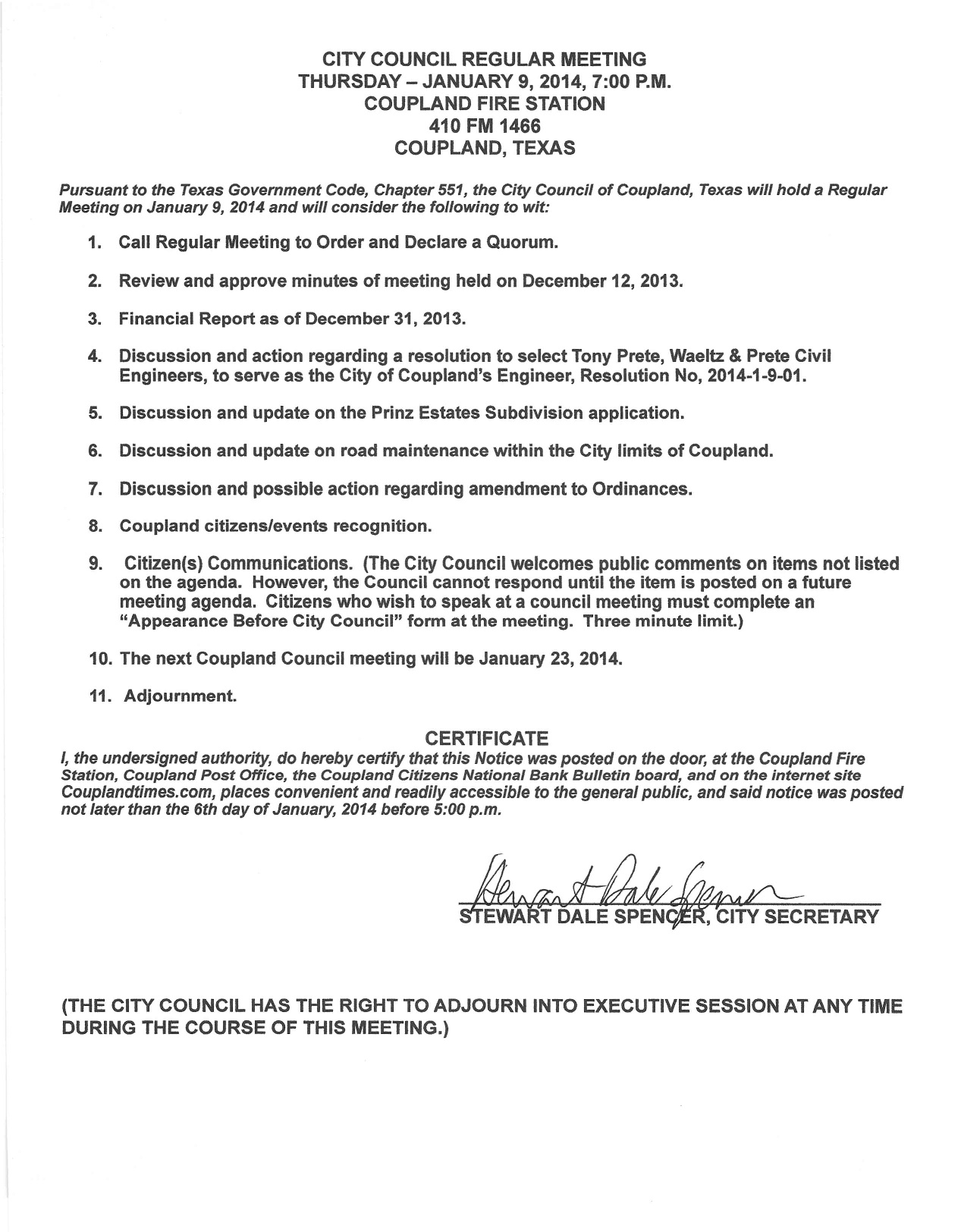 Regular Meeting Agenda, Jan. 9, 2014