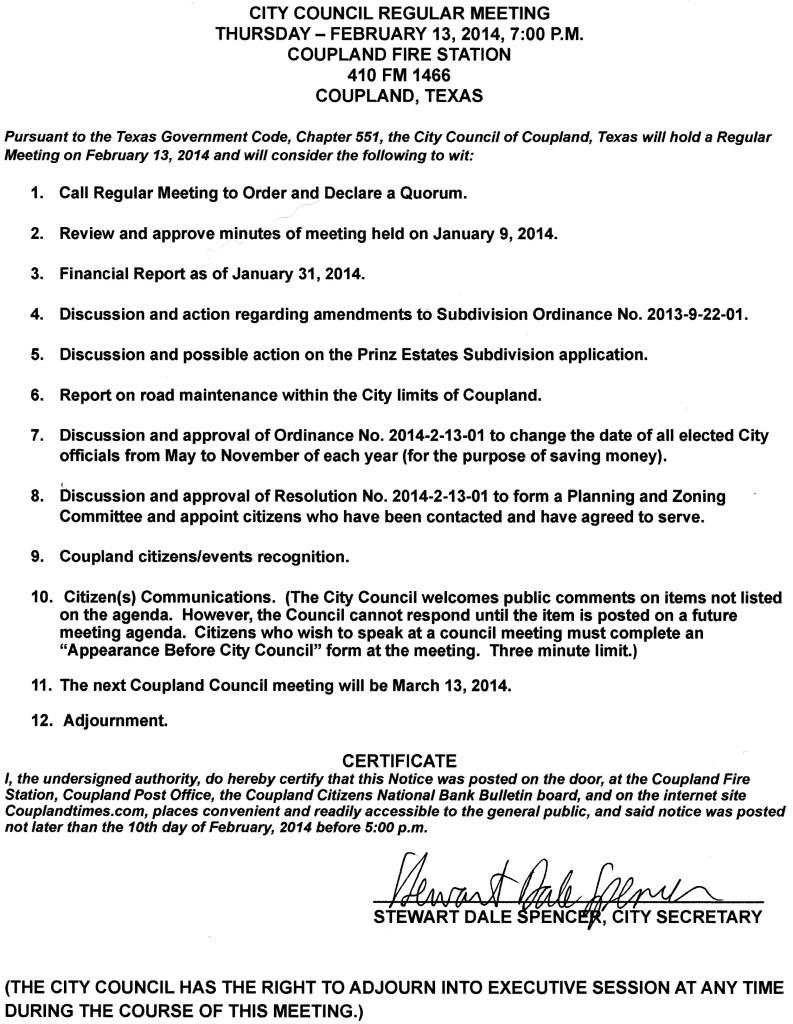 Regular Meeting Agenda, Feb. 13, 2014
