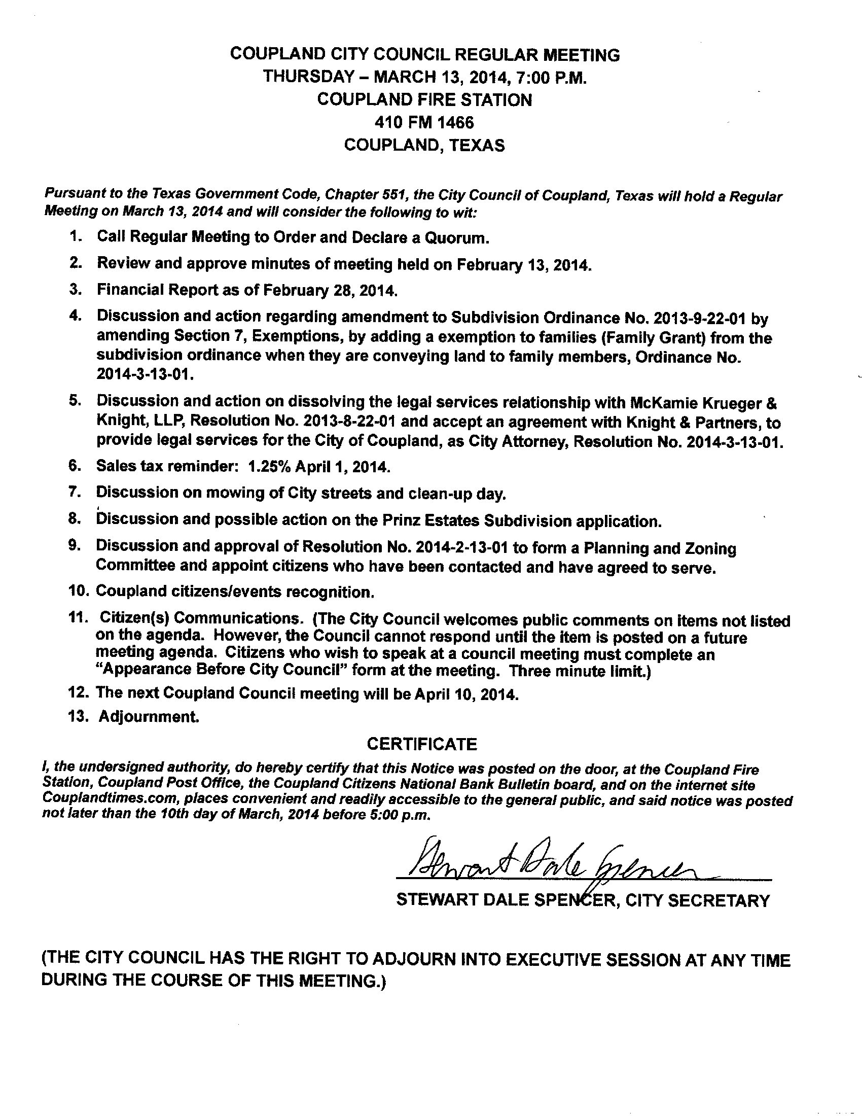 Regular Meeting Agenda - March 13, 2013