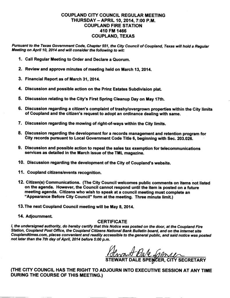 City Council Regular Meeting, 4-10-14