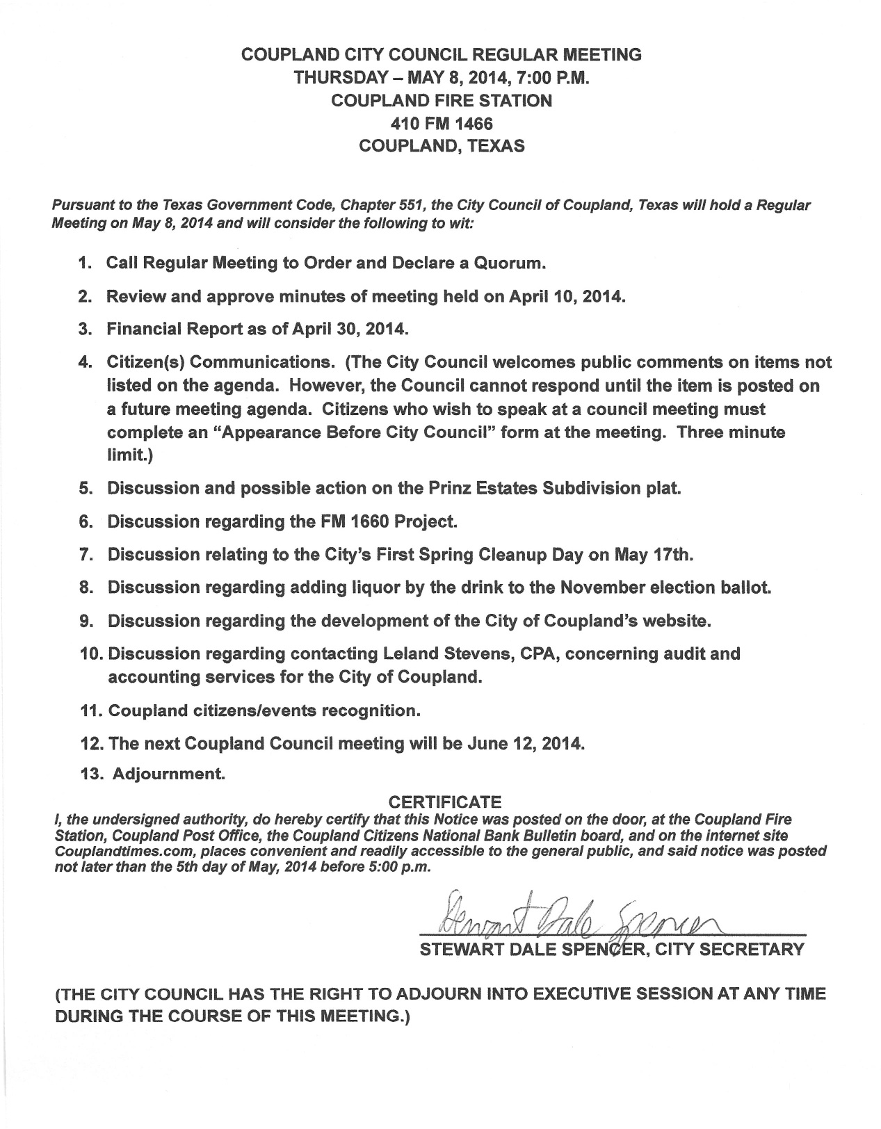 City Council Regular Meeting, 5-8-14