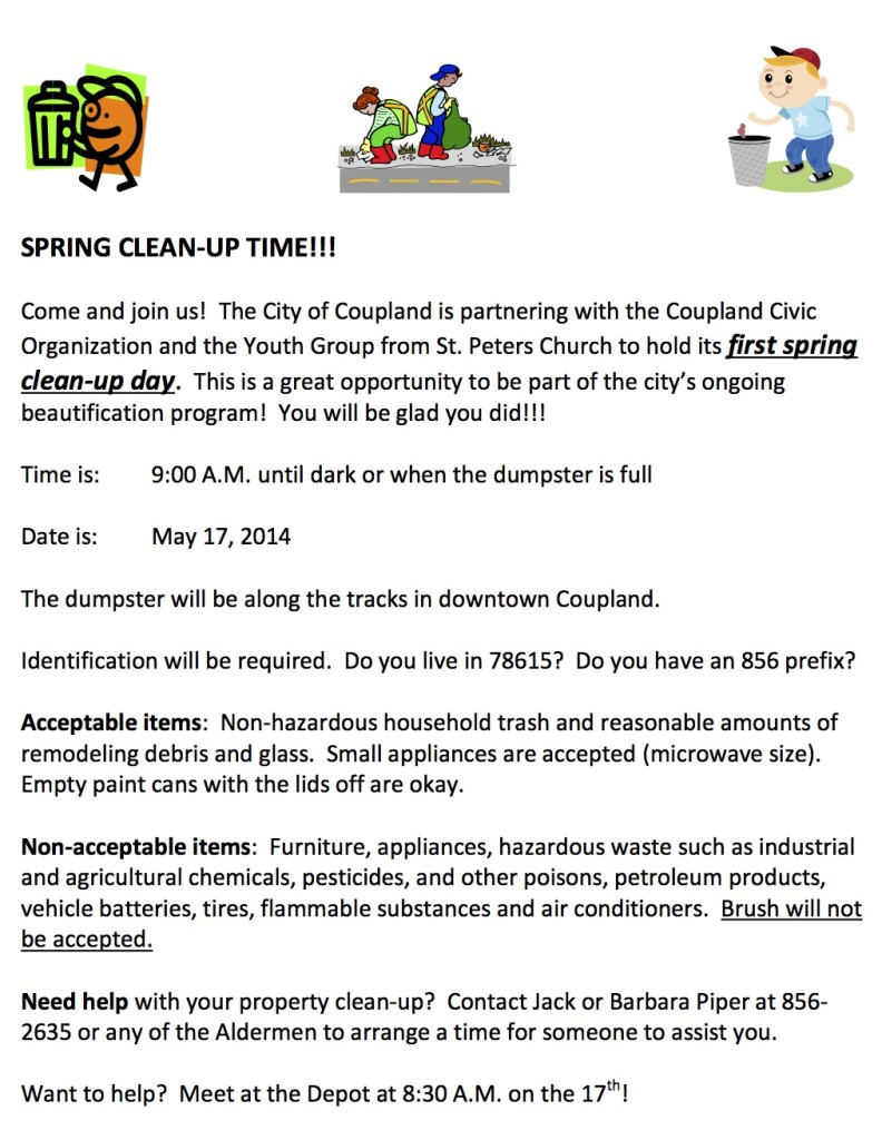 City of Coupland Clean Up Day 051714