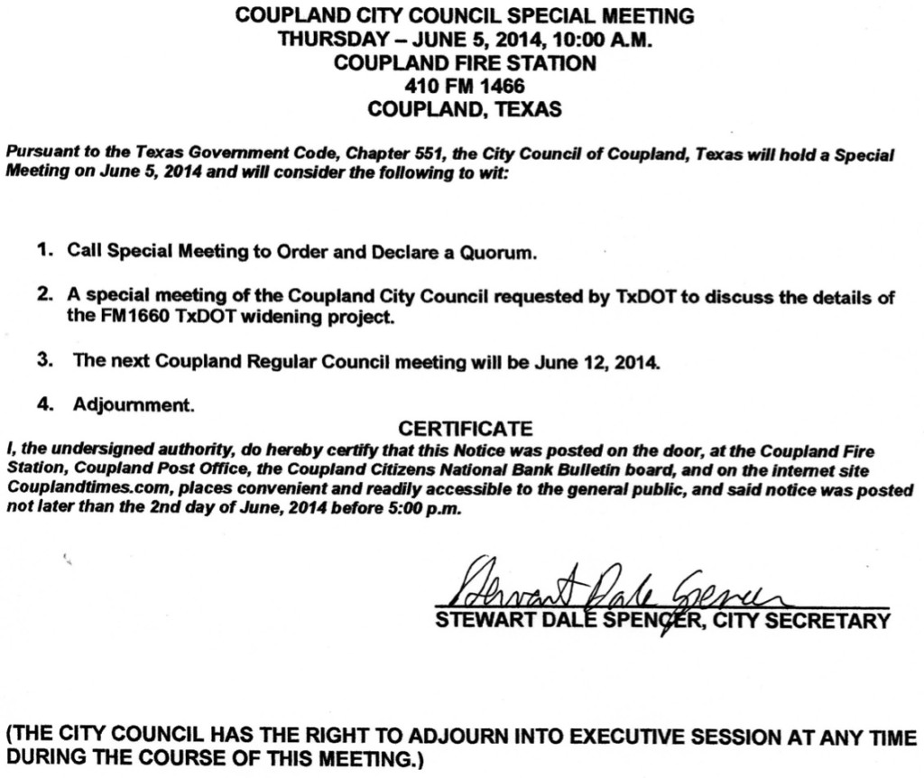 City Council Special Meeting, 6-5-14