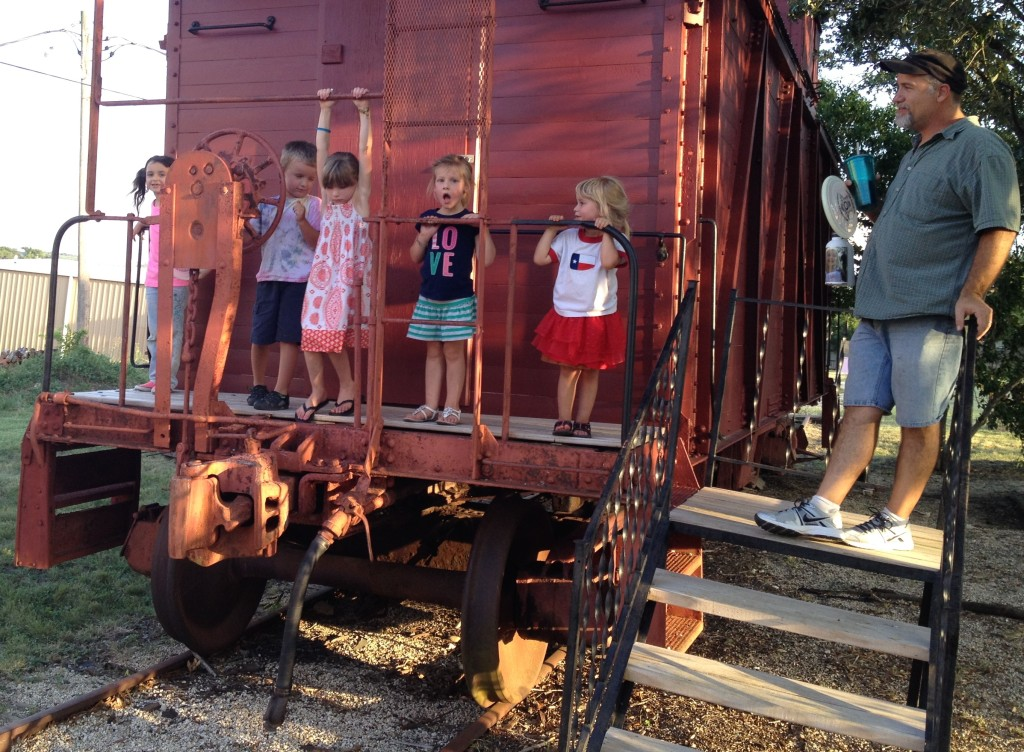 All aboard! Kids love the caboose!